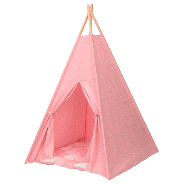 Cort teepee stelute roz si salteluta de joaca inclusa